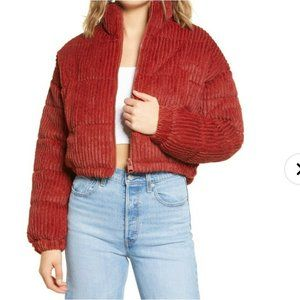 BDG Urban Outfitters Fluffy Corduroy Crop Puffer Jacket Red Size Medium NWT